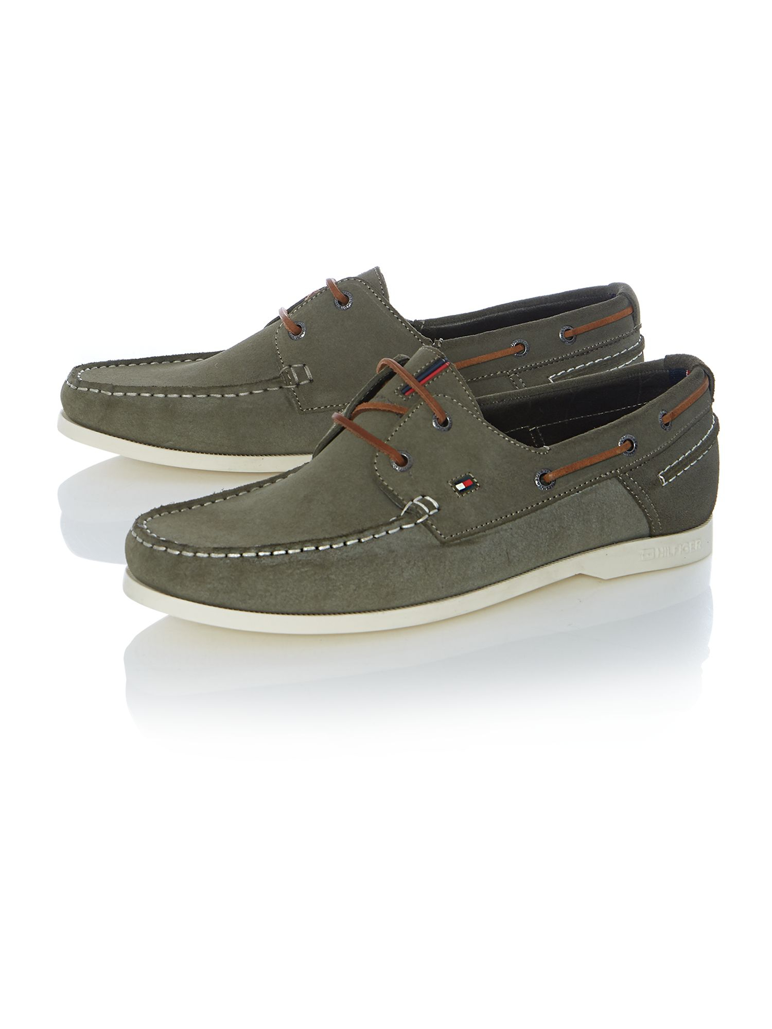 hilfiger chino lace up casual boat shoes in green