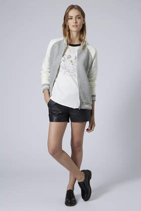 Topshop Womens Striped Rib Jersey Bomber Jacket Grey in Gray | Lyst