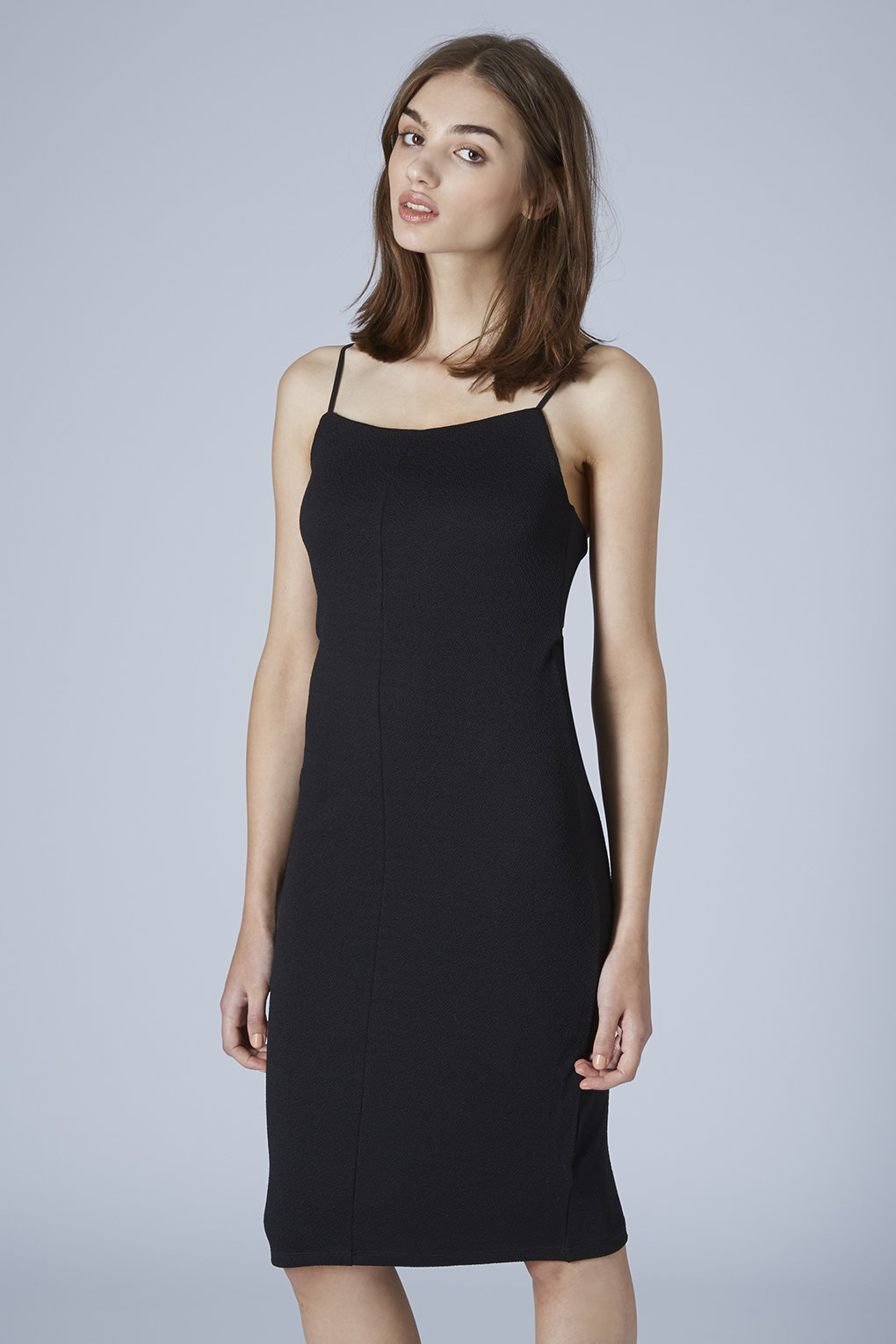 Now black bodycon dress square neck up top young