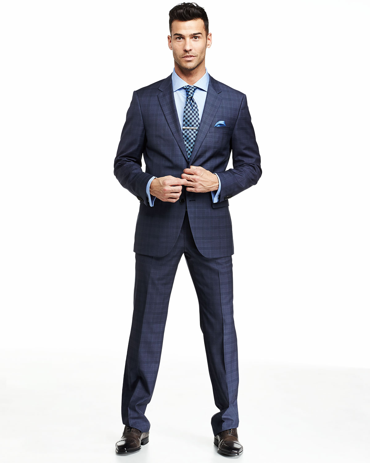 hugo boss blue suit with ties combination. Black Bedroom Furniture Sets. Home Design Ideas