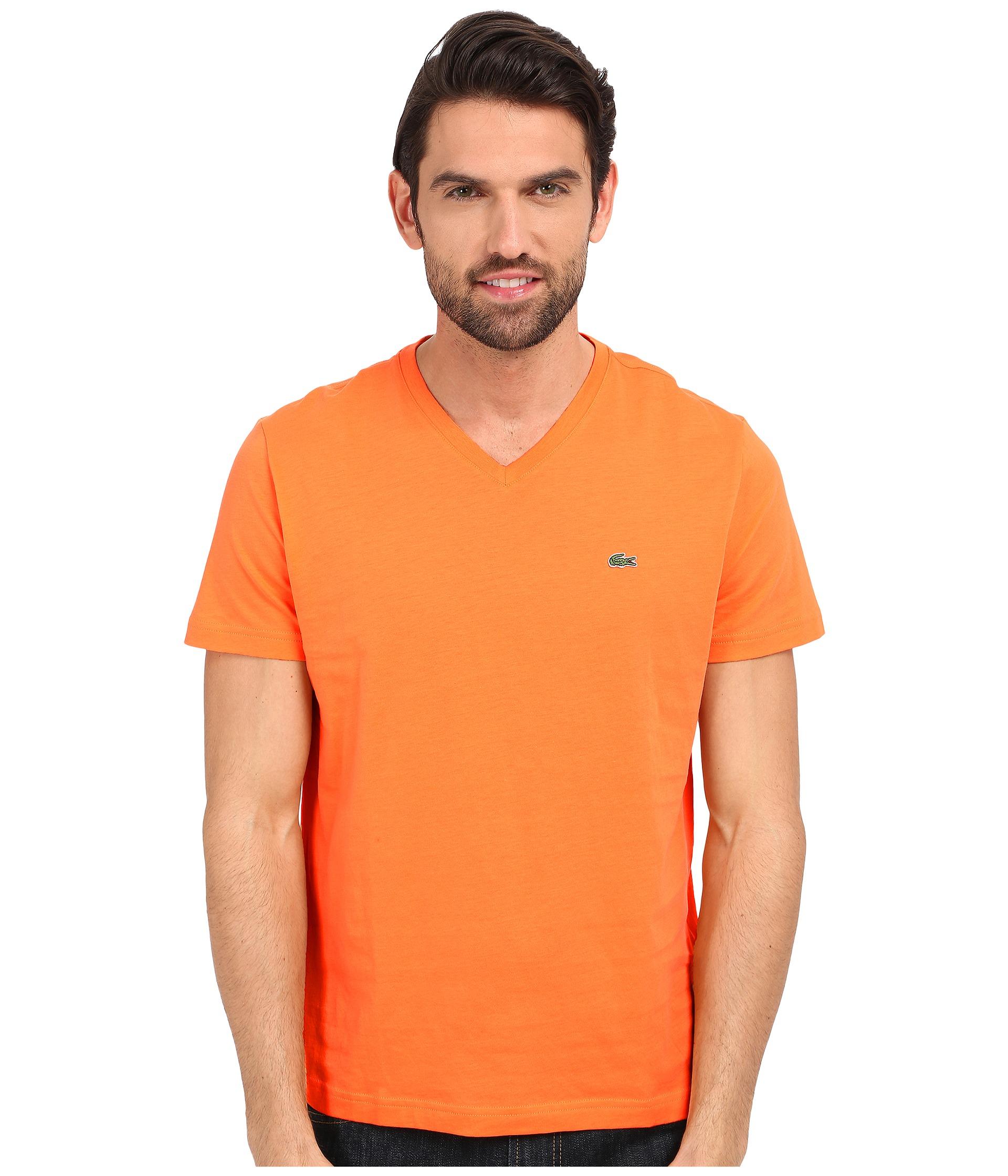 lacoste s s pima jersey v neck t shirt in orange for men. Black Bedroom Furniture Sets. Home Design Ideas