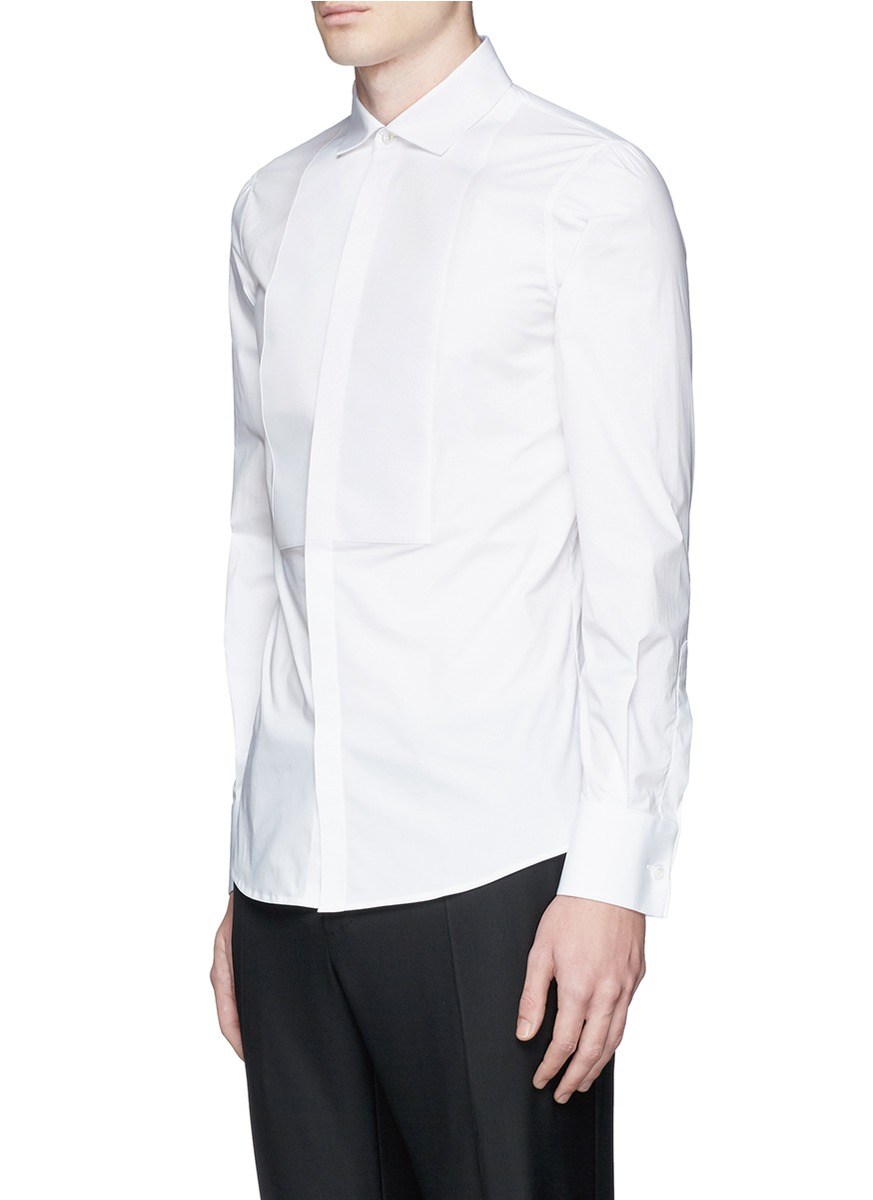 Dsquared spread collar tuxedo shirt in white for men lyst for Men s spread collar shirts
