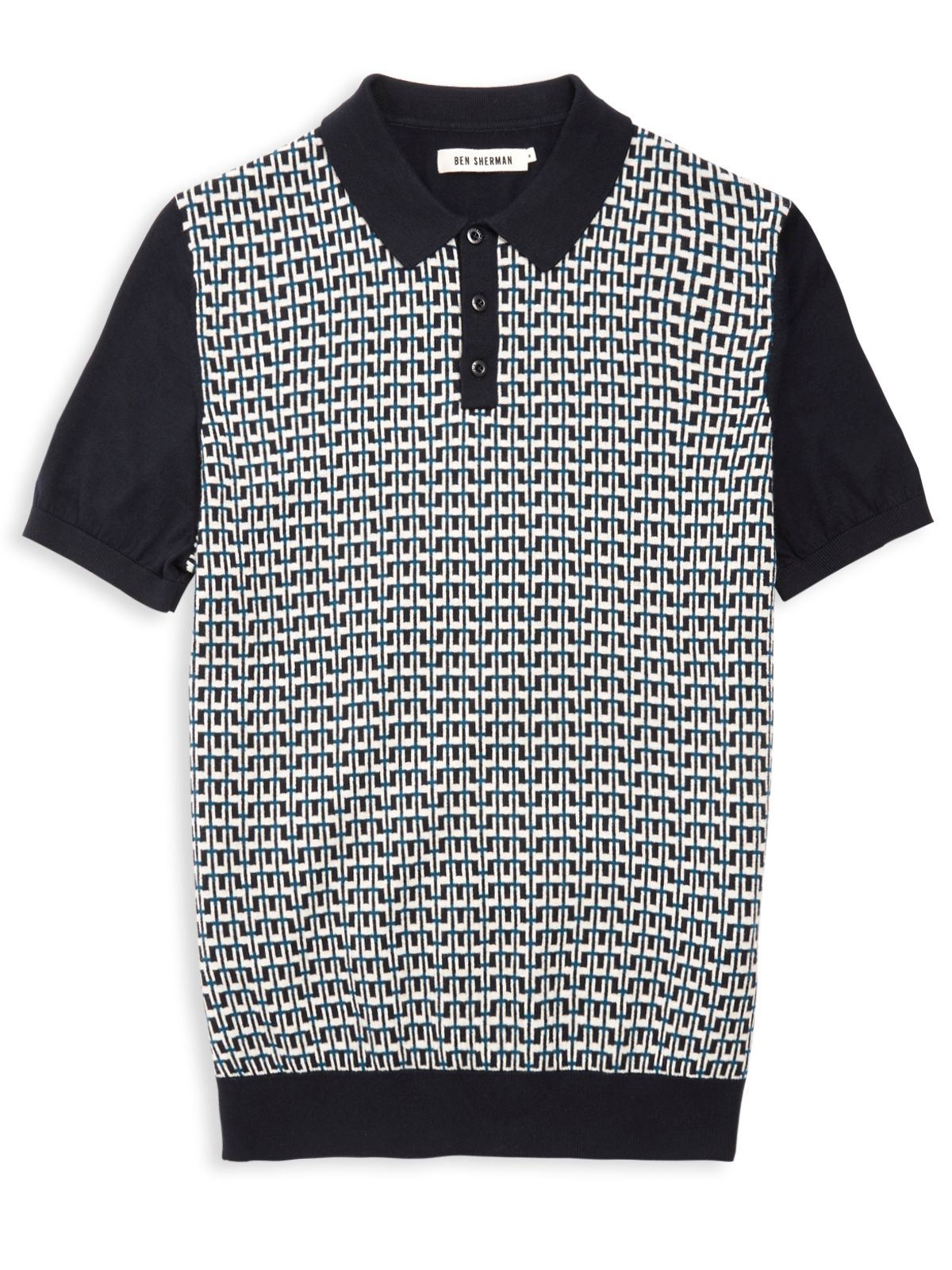 Ben sherman geo knit polo shirt in blue for men lyst for Knitted polo shirt mens