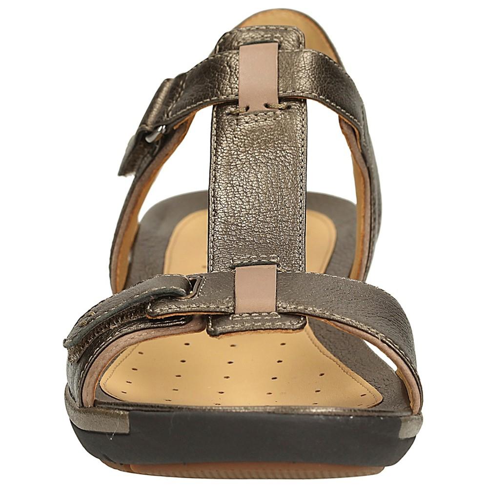 1b60c425a07 Clarks Un Voshell Leather Sandals in Metallic - Lyst