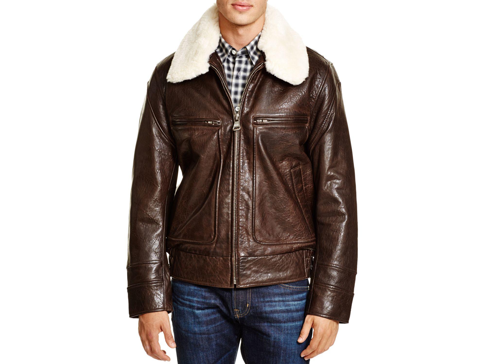 ee5011e49 Marc New York Brown Carmine Aviator Leather Bomber Jacket for men
