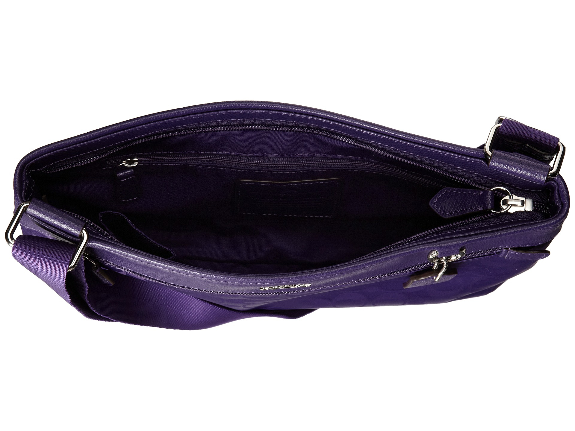 ... official store lyst coach signature nylon spencer crossbody in purple  6e619 a0404 cecd3f1c73524