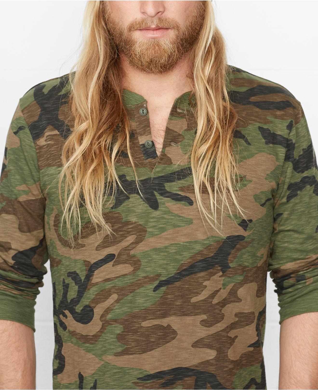777a0e0e Denim & Supply Ralph Lauren Camo Slub-Cotton Henley Shirt in Green ...