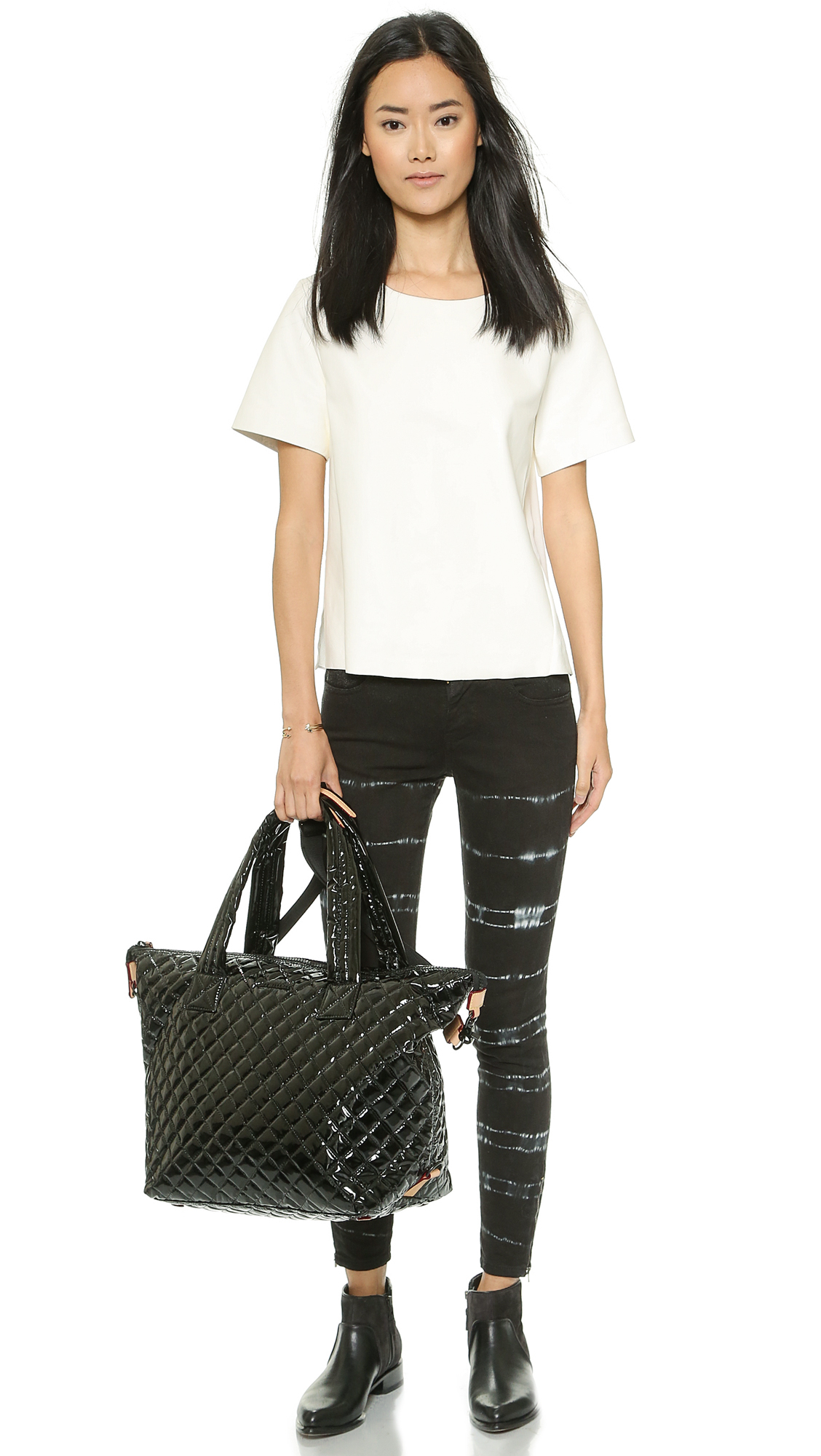 Mz Wallace Lacquered Large Sutton Tote Black In Black Lyst