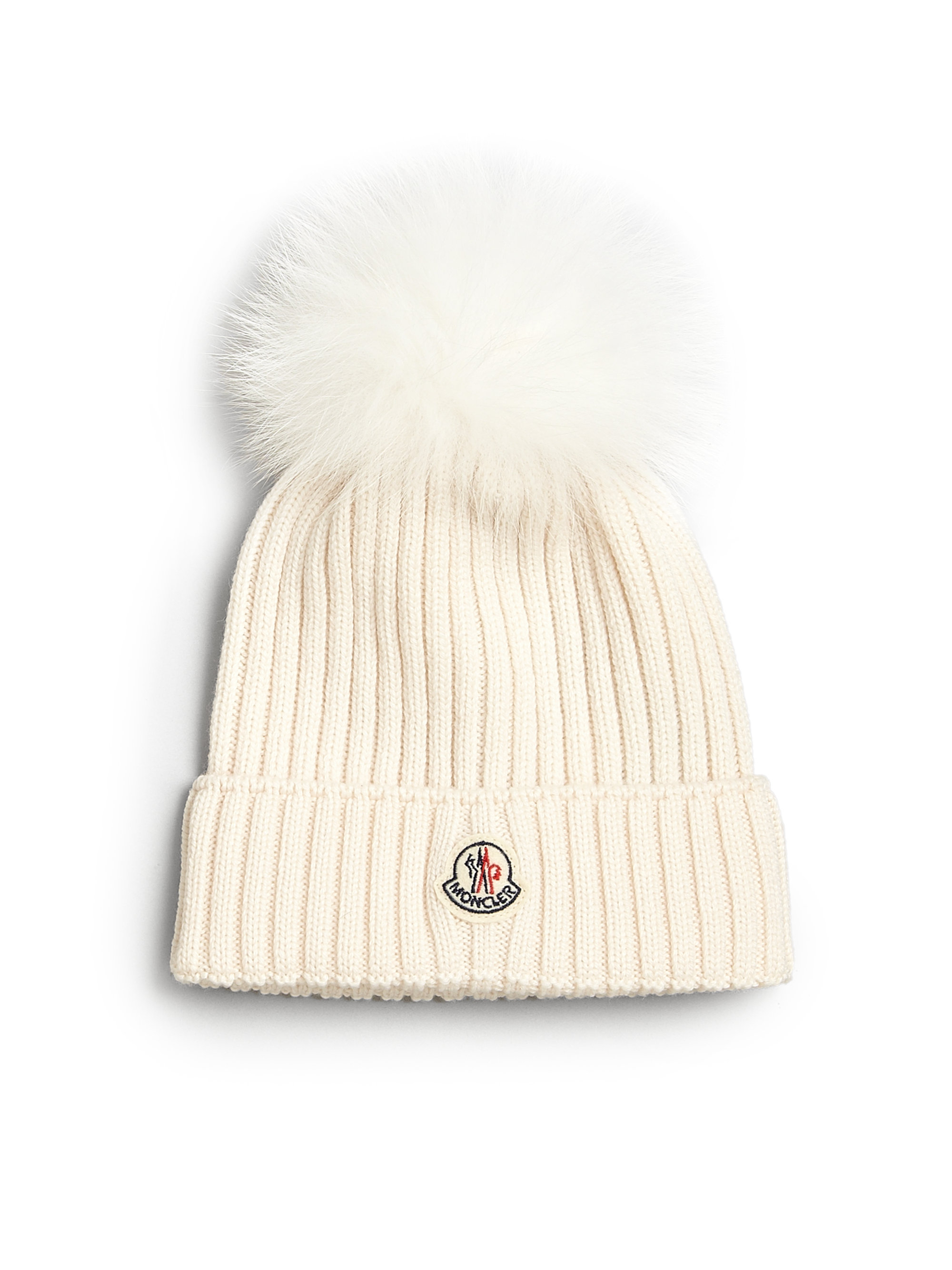 Lyst - Moncler Toddlers Little Girls Fur-trimmed Wool Hat in Natural 7a9781a7d4a