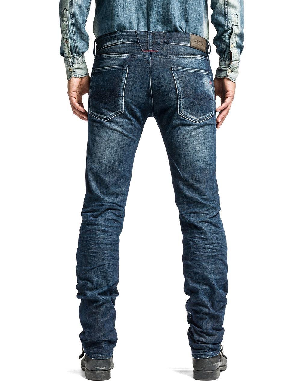 replay lenrick denim jeans regular slim fit in blue for men denim dark wash lyst. Black Bedroom Furniture Sets. Home Design Ideas