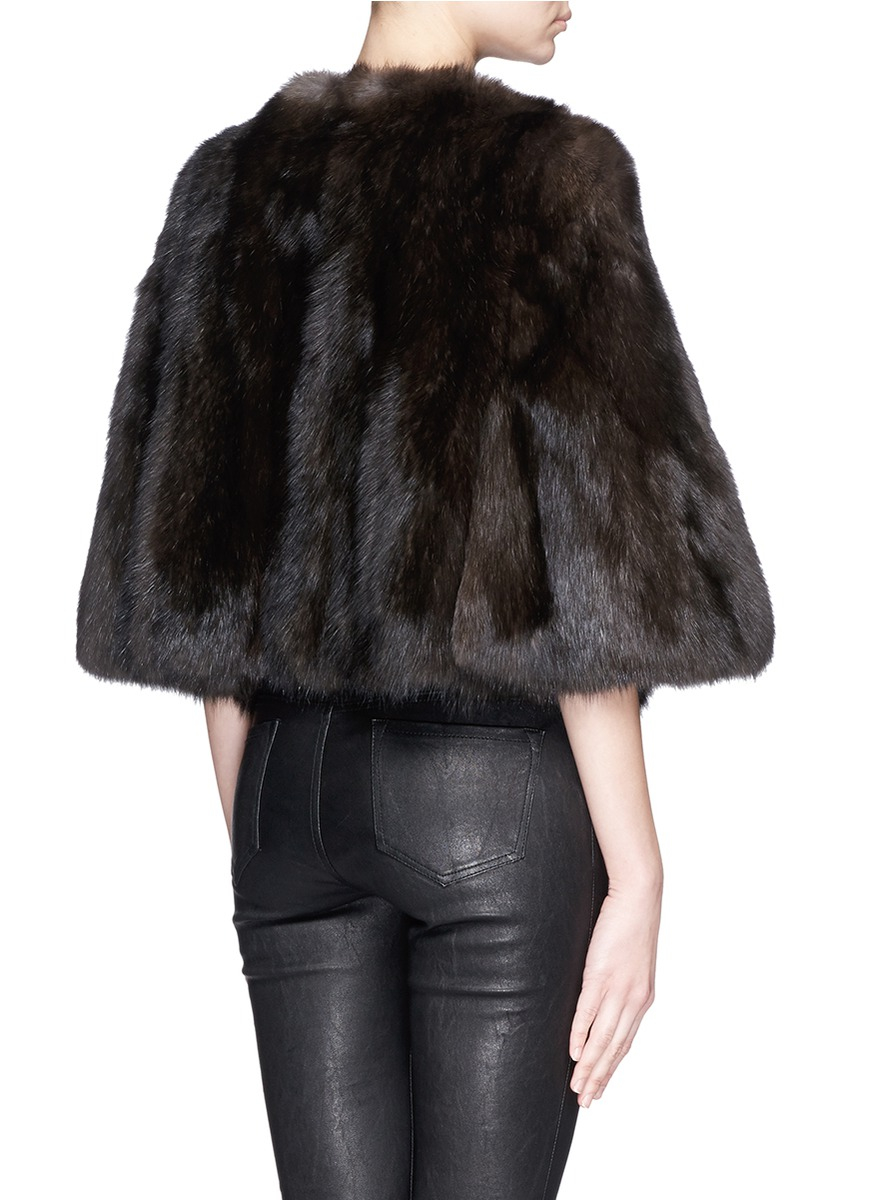 Yves Salomon Cropped Sable Fur Cape In Brown Lyst