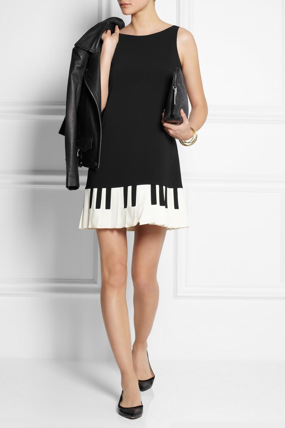 Boutique moschino Piano Key Print Stretch Crepe Mini Dress ...