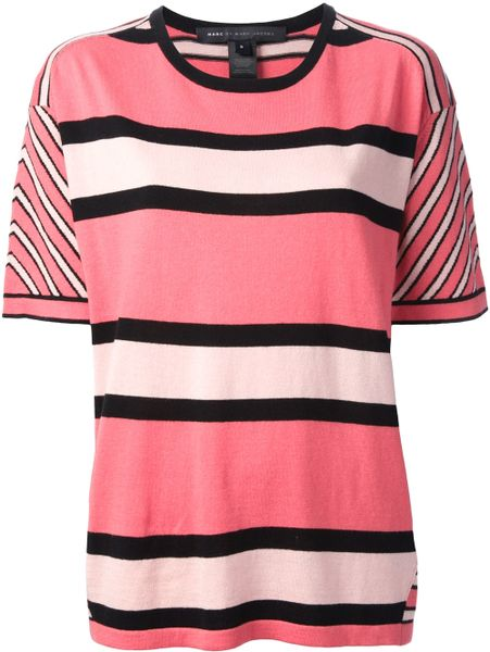 Marc by marc jacobs striped t shirt in purple pink for Purple and black striped t shirt