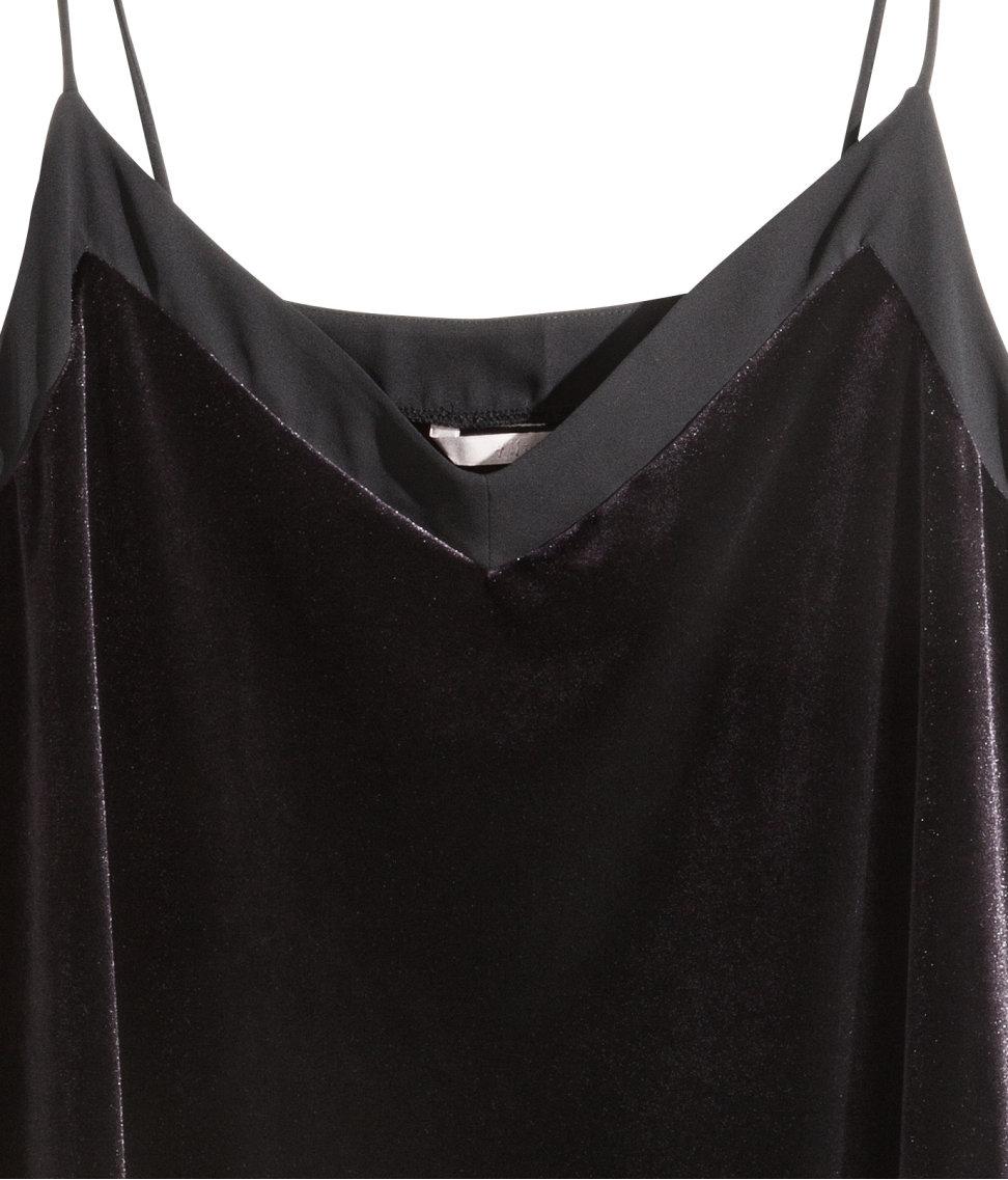 f4ef43547ec3af Lyst - H M + Velvet Cami Top in Black