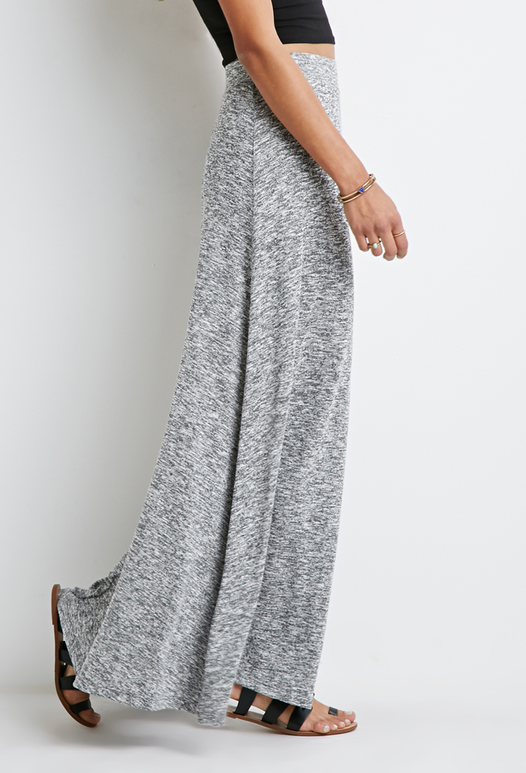Forever 21 Marled Knit Maxi Skirt in Gray | Lyst