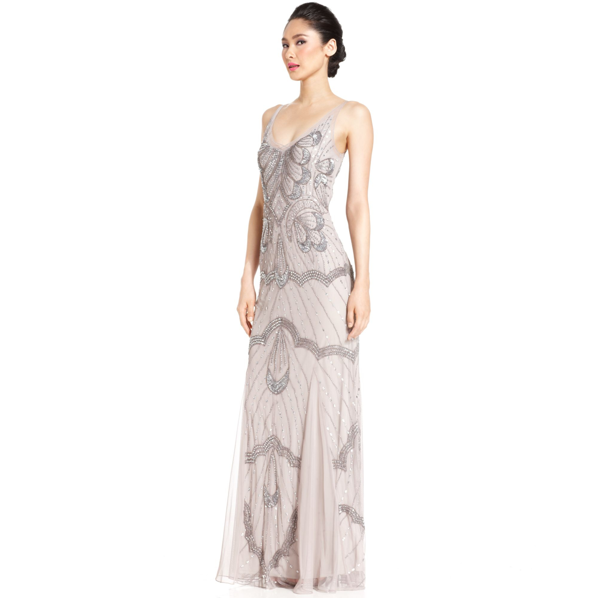 Lyst Js Collections S Sleeveless Embellished Vneck Gown In Metallic