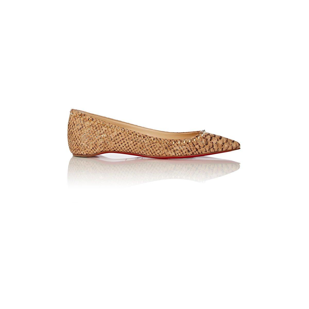louboutin shoes replica - Christian louboutin Women's Spiked Anjalina Flats in Beige (Nude ...