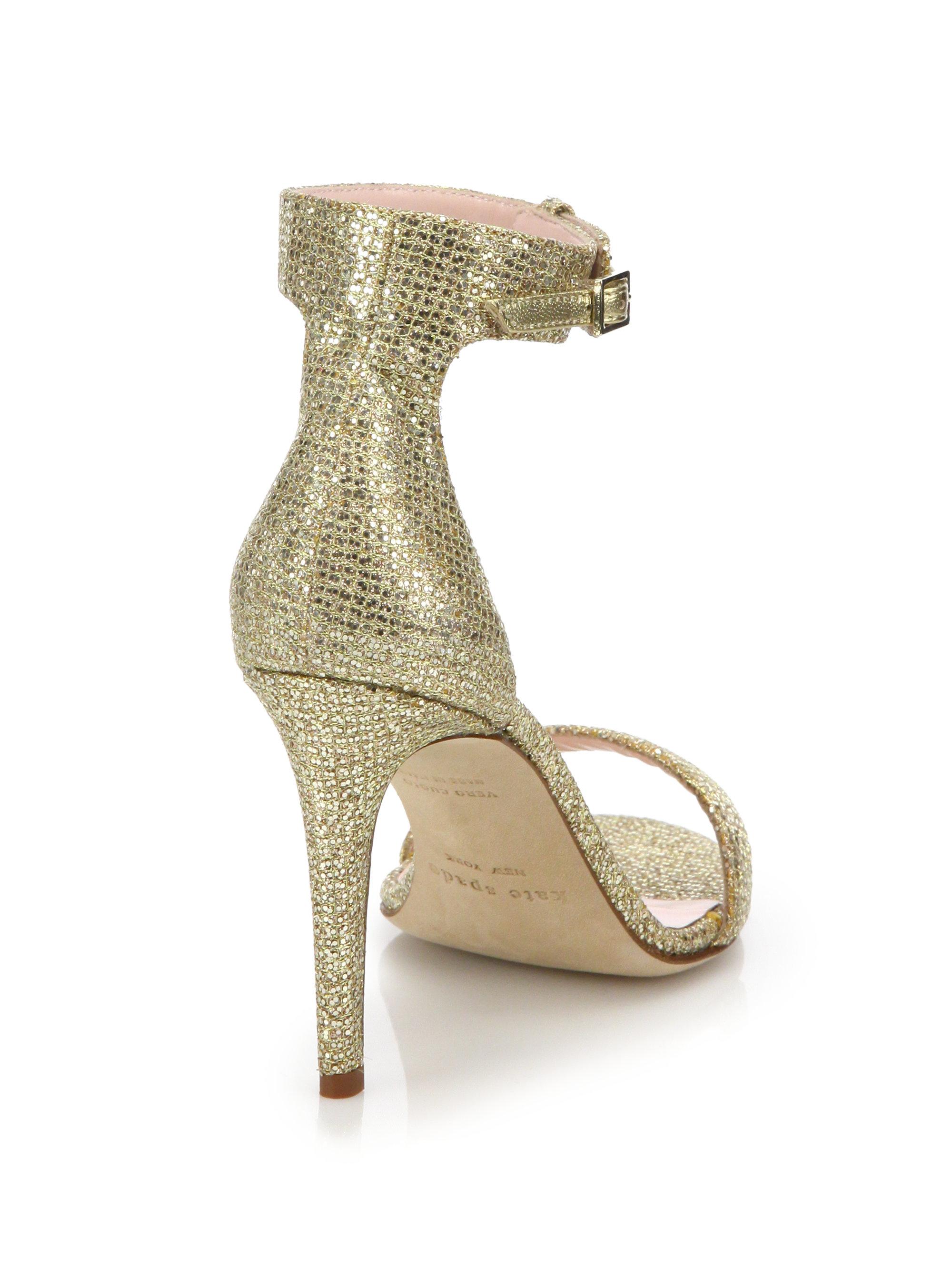 466afca1c29c Lyst - Kate Spade Isa Glitter Lurex Sandals in Metallic