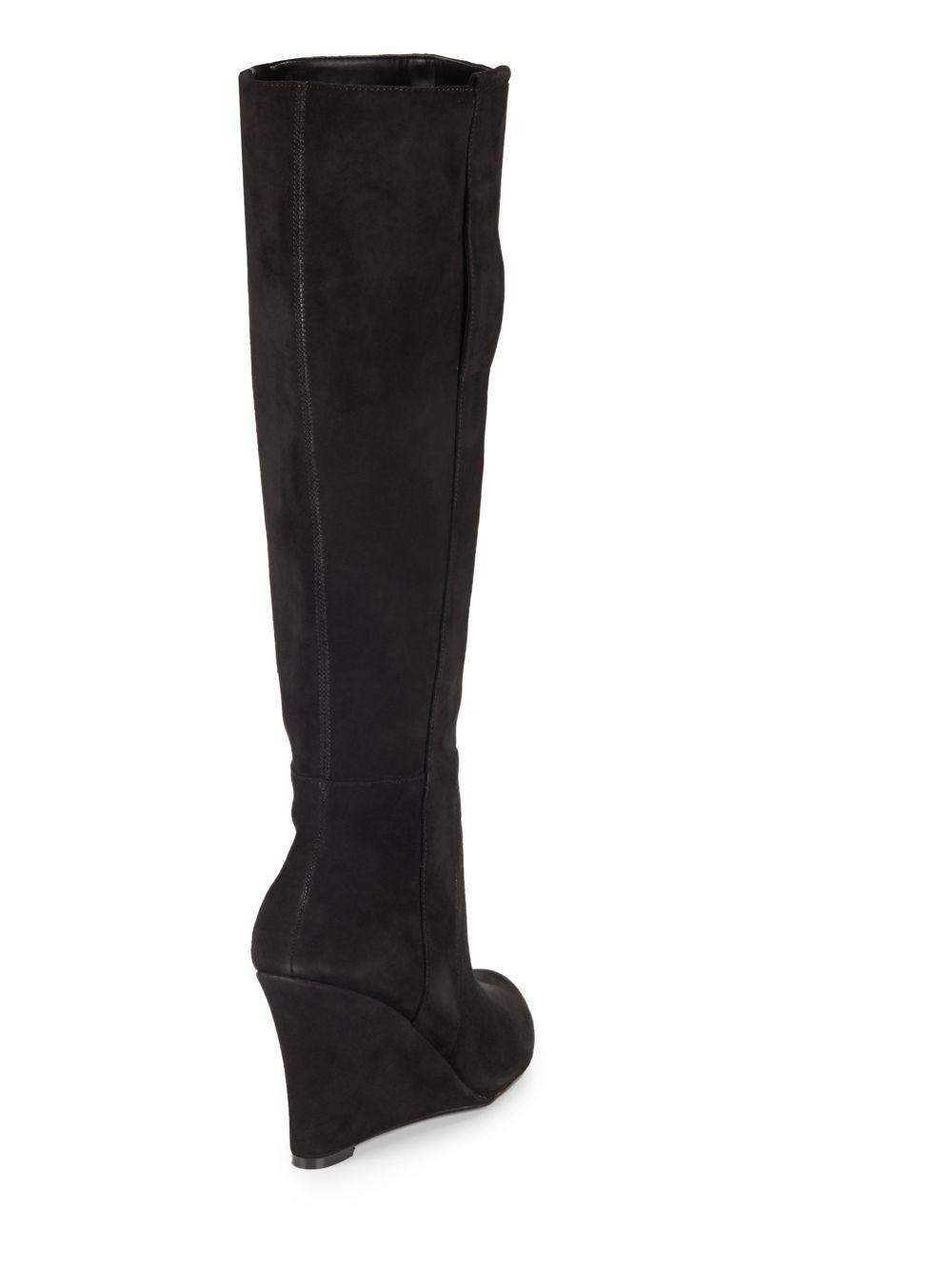 nine west oran suede wedge boots in black lyst