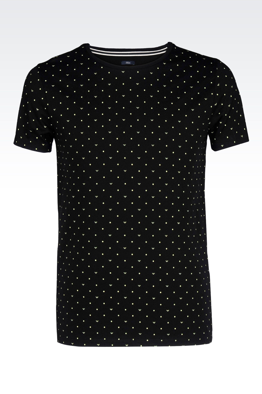 armani jeans logo patterned cotton jersey t shirt in black for men lyst. Black Bedroom Furniture Sets. Home Design Ideas
