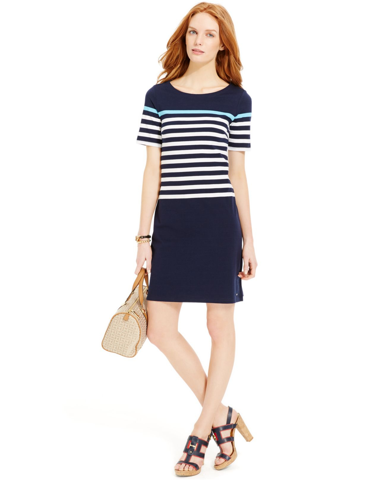 6abf5d833f Lyst - Tommy Hilfiger Colorblock Striped T-shirt Dress in Blue