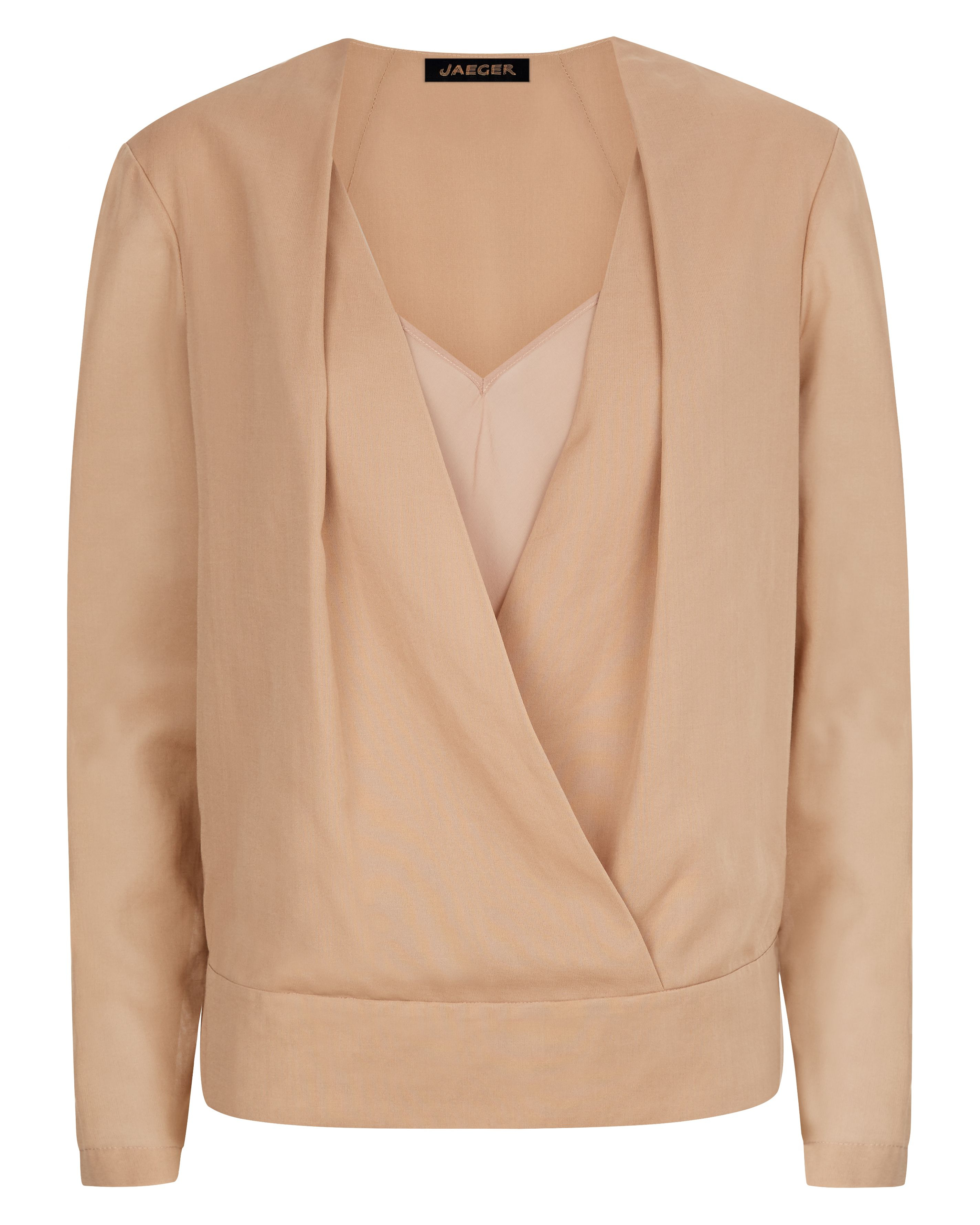 Jaeger Silk Wrap Blouse in Natural | Lyst