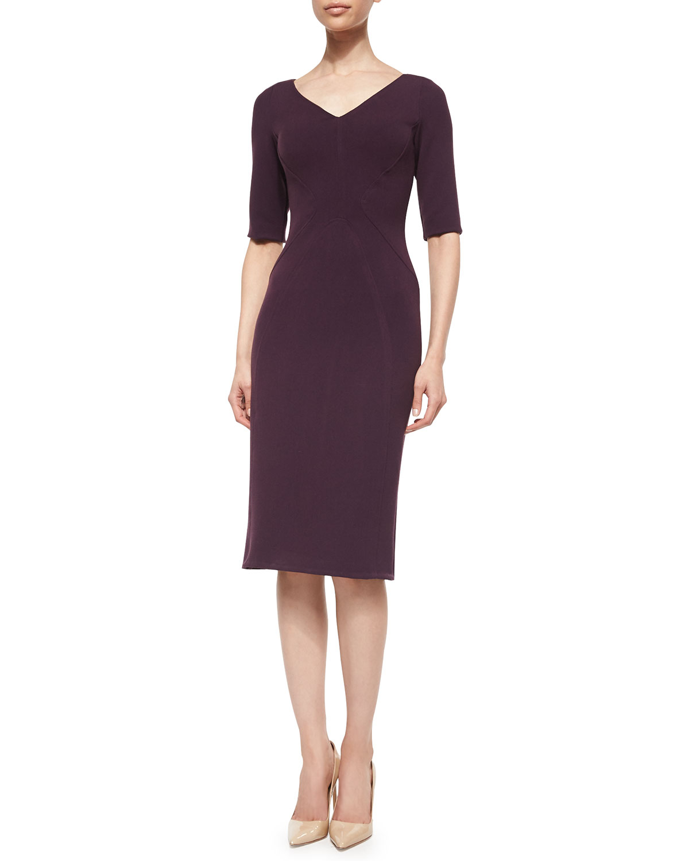 Lela Rose Half-Sleeve Fitted Sheath Dress in Purple (plum ...