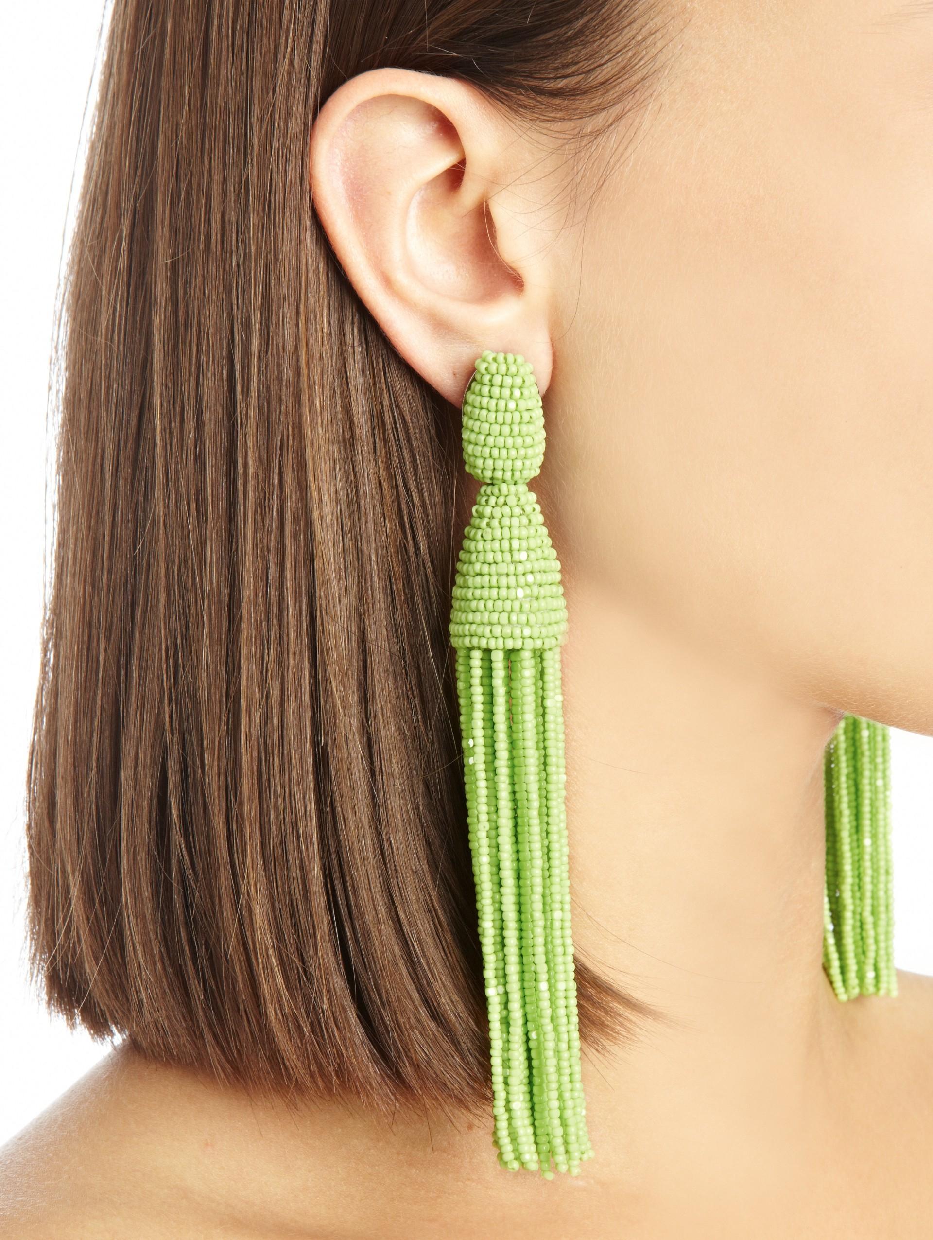 Oscar De La Renta Classic Long Tassel Earrings In Green Lyst