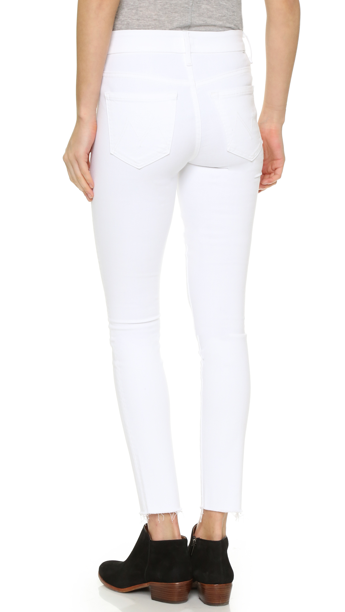 Mother High Waisted Looker Ankle Fray Jeans in White | Lyst