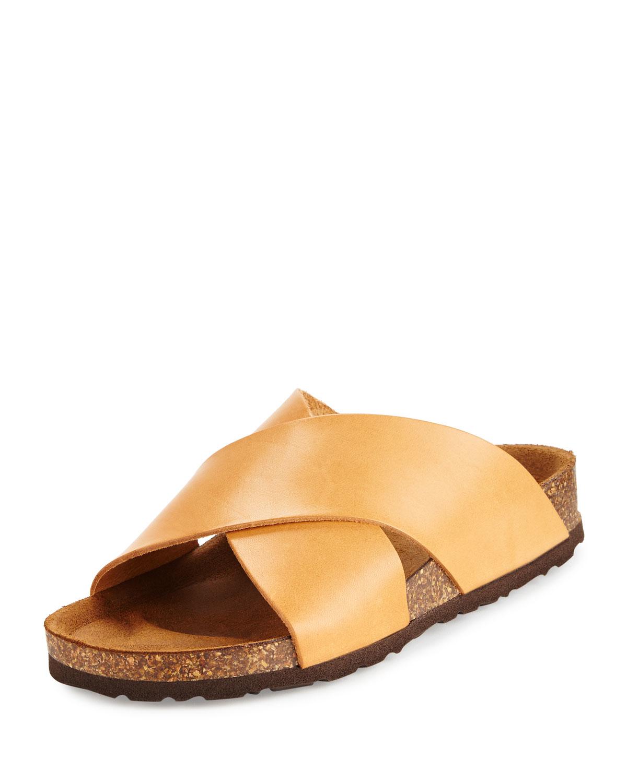 Neiman marcus Brenda Crisscross Slide Sandal in Brown   Lyst