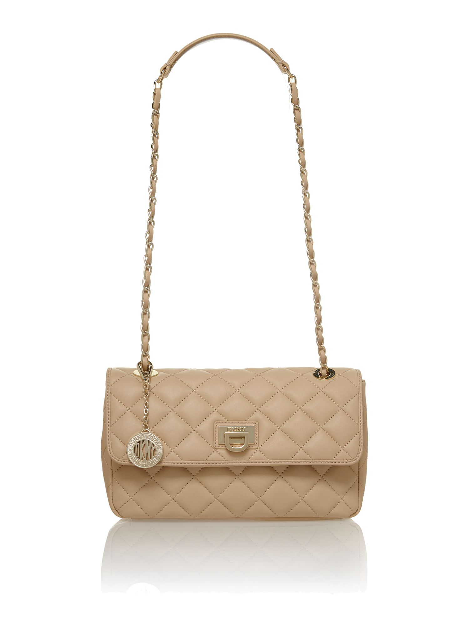 Dkny Quilted Nappa Neutral Shoulder Bag in Natural | Lyst