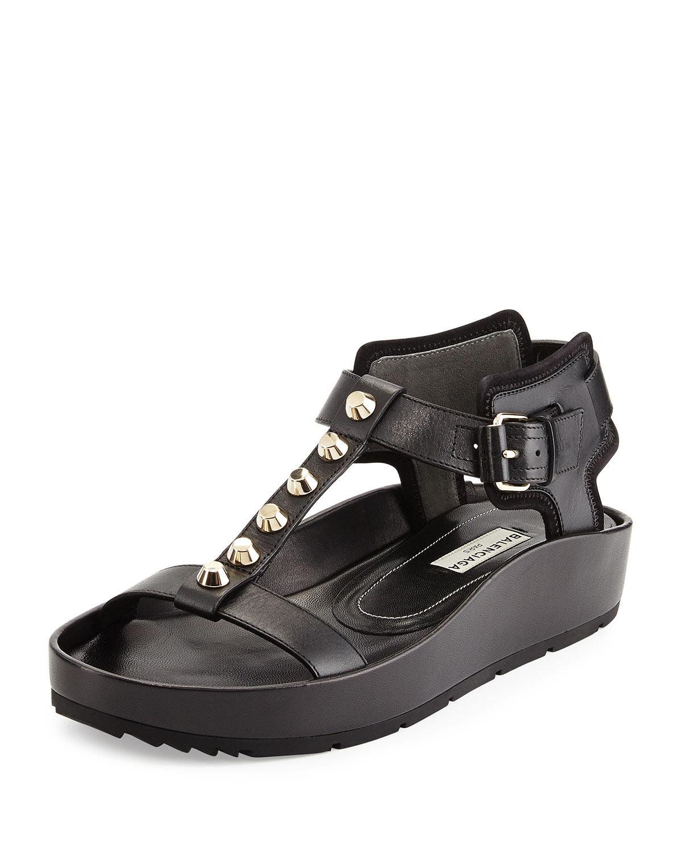 Lyst Balenciaga Studded Leather T Strap Sandal In Black