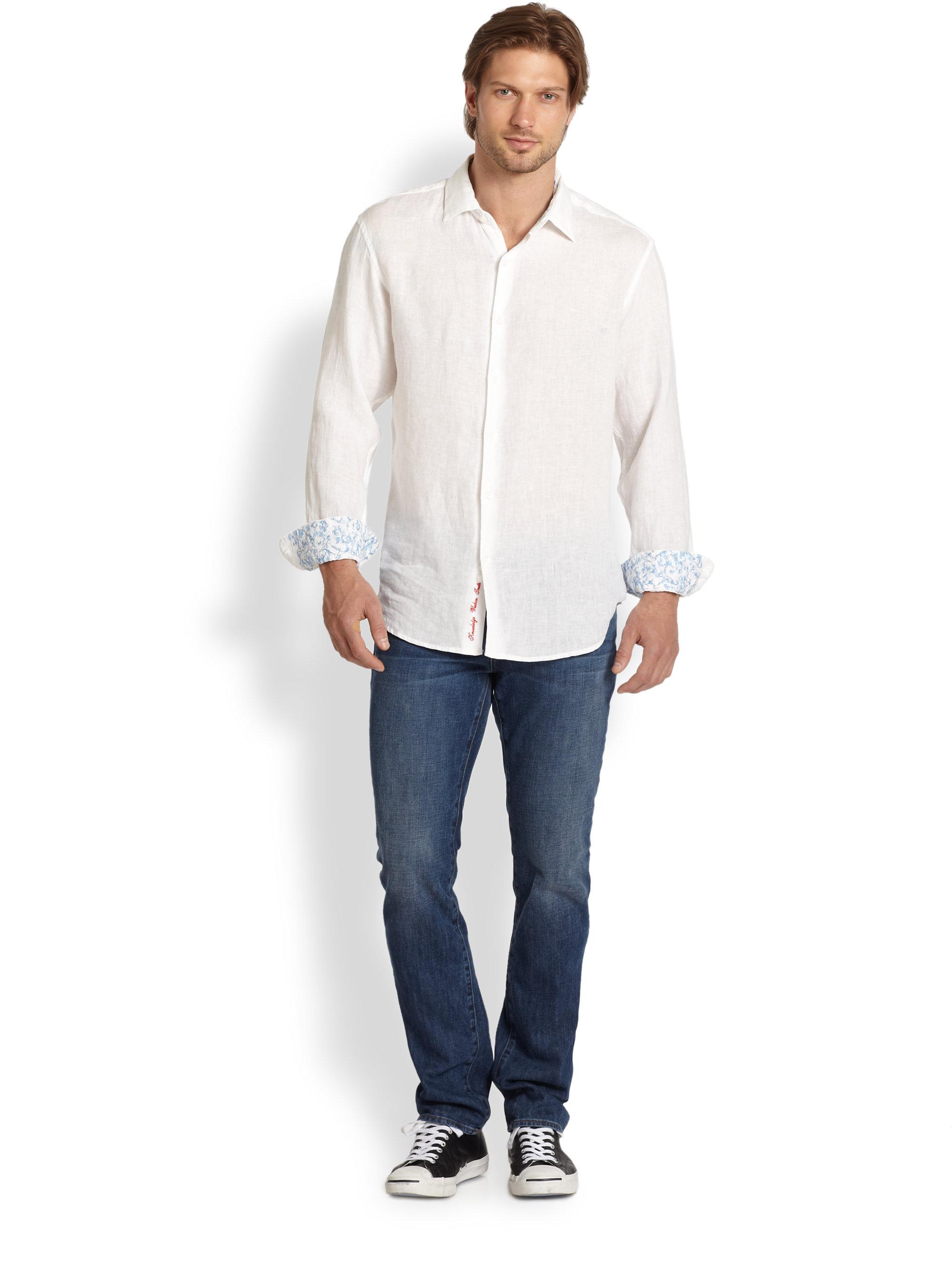 Robert Graham Embroidered Linen Shirt In White For Men Lyst