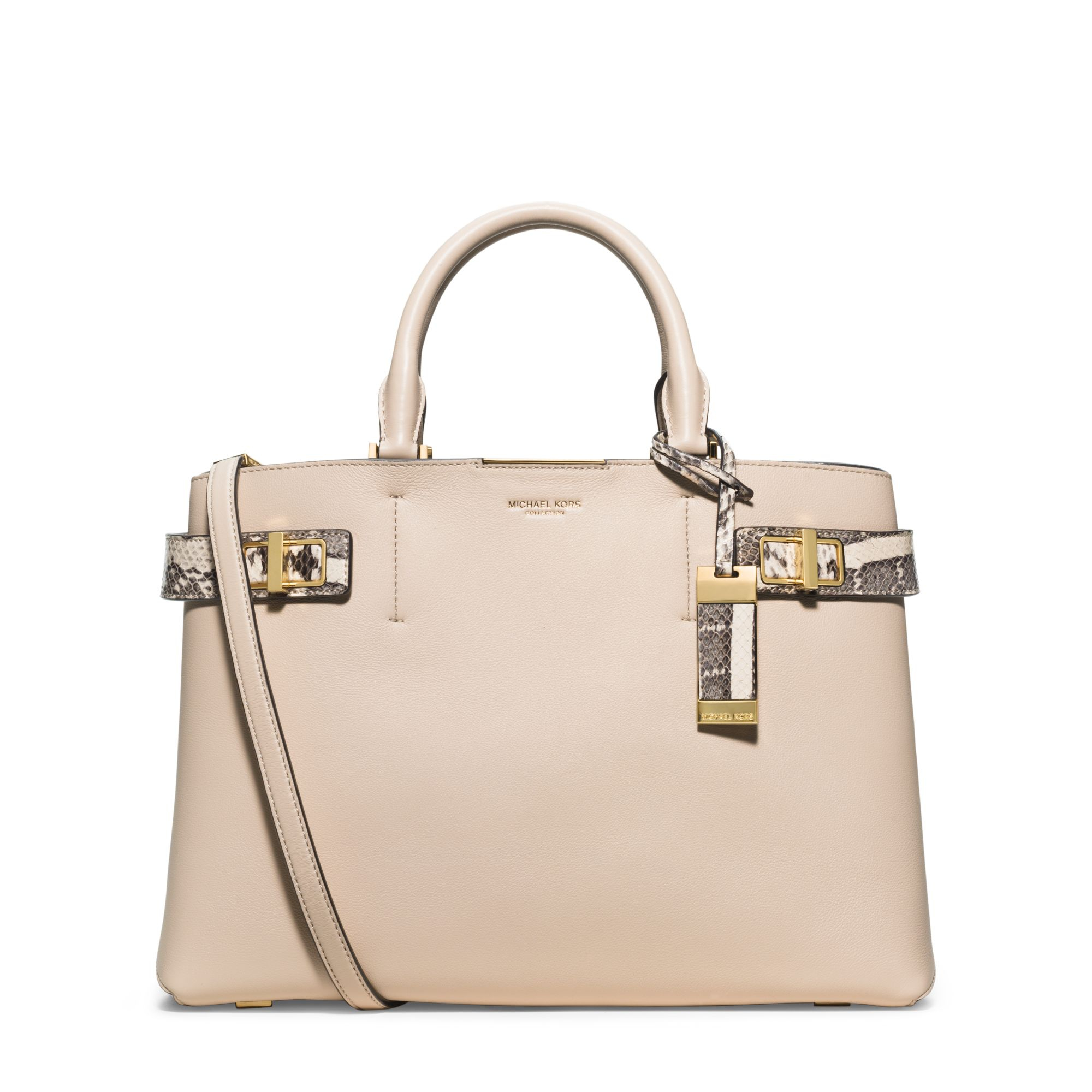 Michael kors Bette Large Leather And Python Satchel in Natural | Lyst