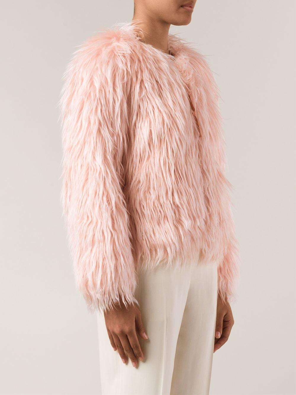 COACH Cropped Fluffy Jacket in Pink & Purple (Pink) - Lyst   1000 x 1334 jpeg 410kB