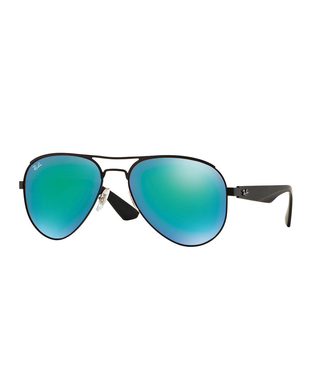 Lyst ray ban mirrored iridescent aviator sunglasses in green for Mirror sunglasses