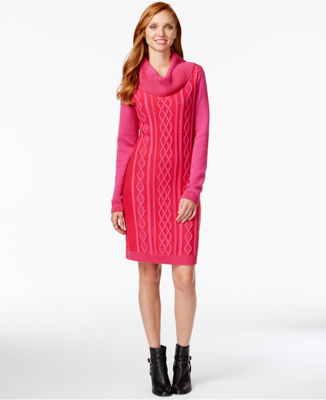 Tommy hilfiger Cowl-neck Cable-knit Sweater Dress in Pink | Lyst