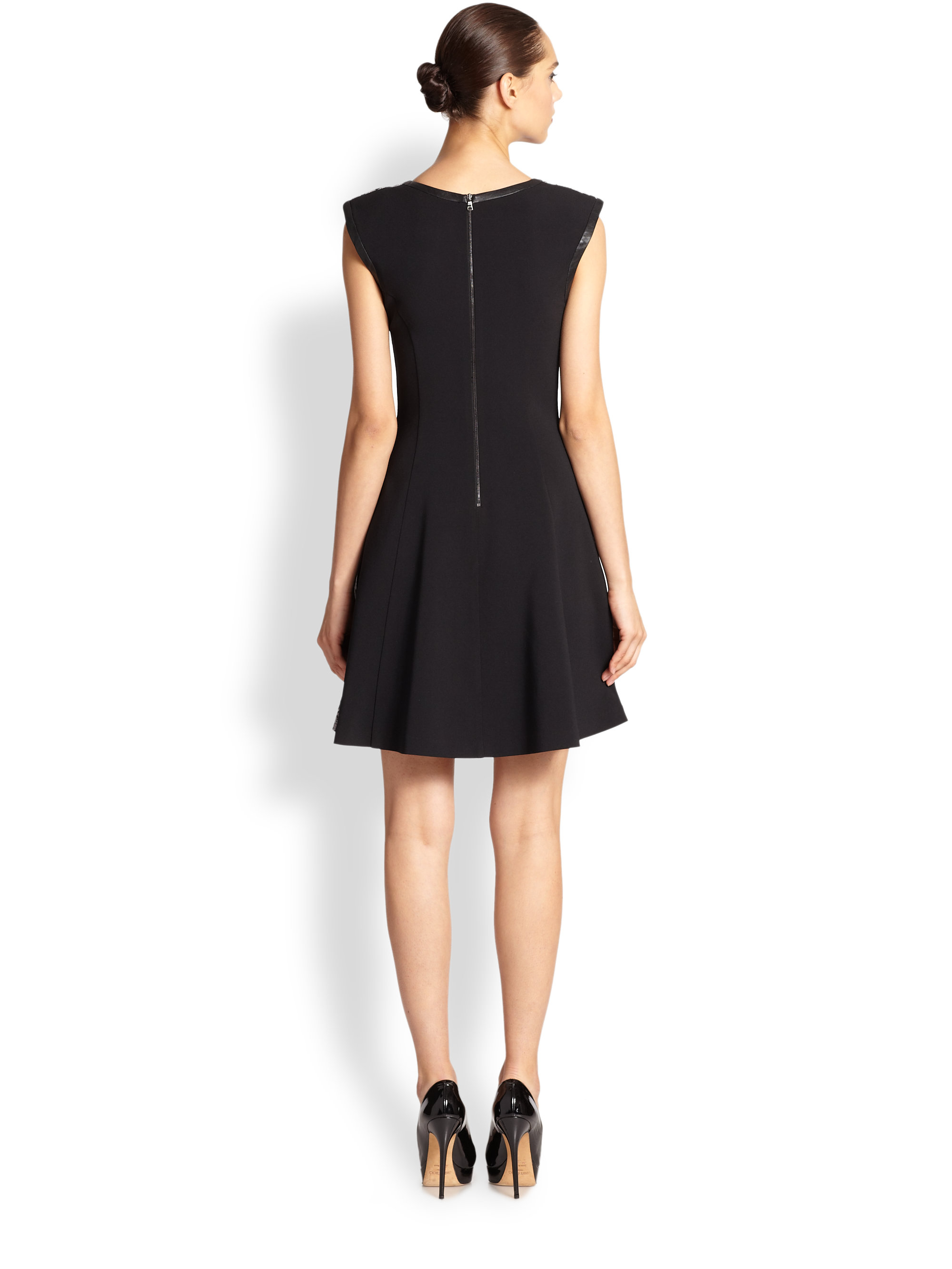 Abs By Allen Schwartz Lace Fit Amp Flare Dress In Black