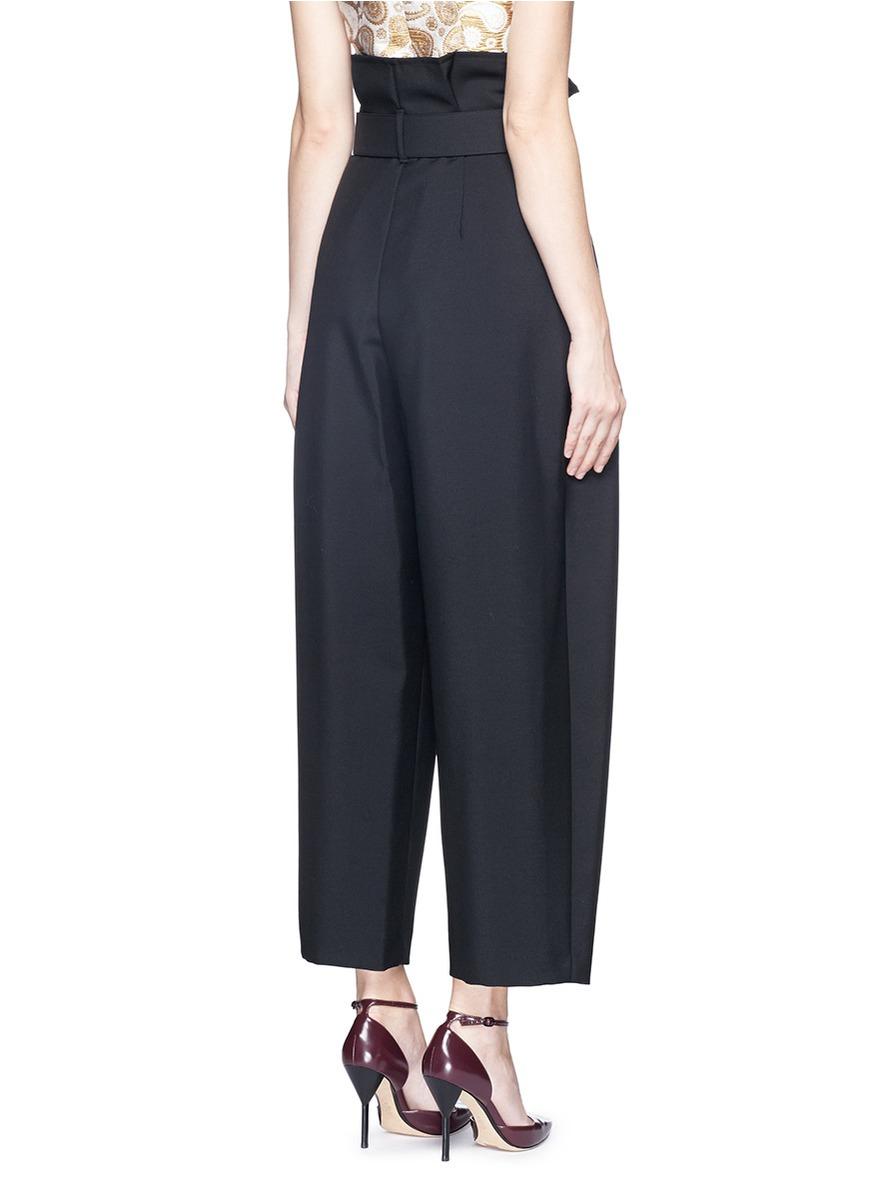 Stella Mccartney Paperbag Waist Wool Mohair Crepe Wide Leg