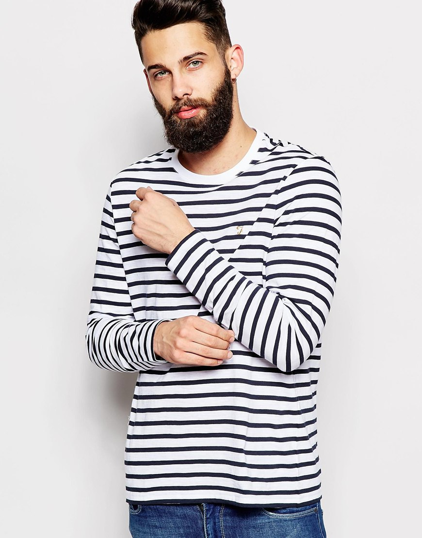 farah t shirt with breton stripe long sleeves in black for. Black Bedroom Furniture Sets. Home Design Ideas
