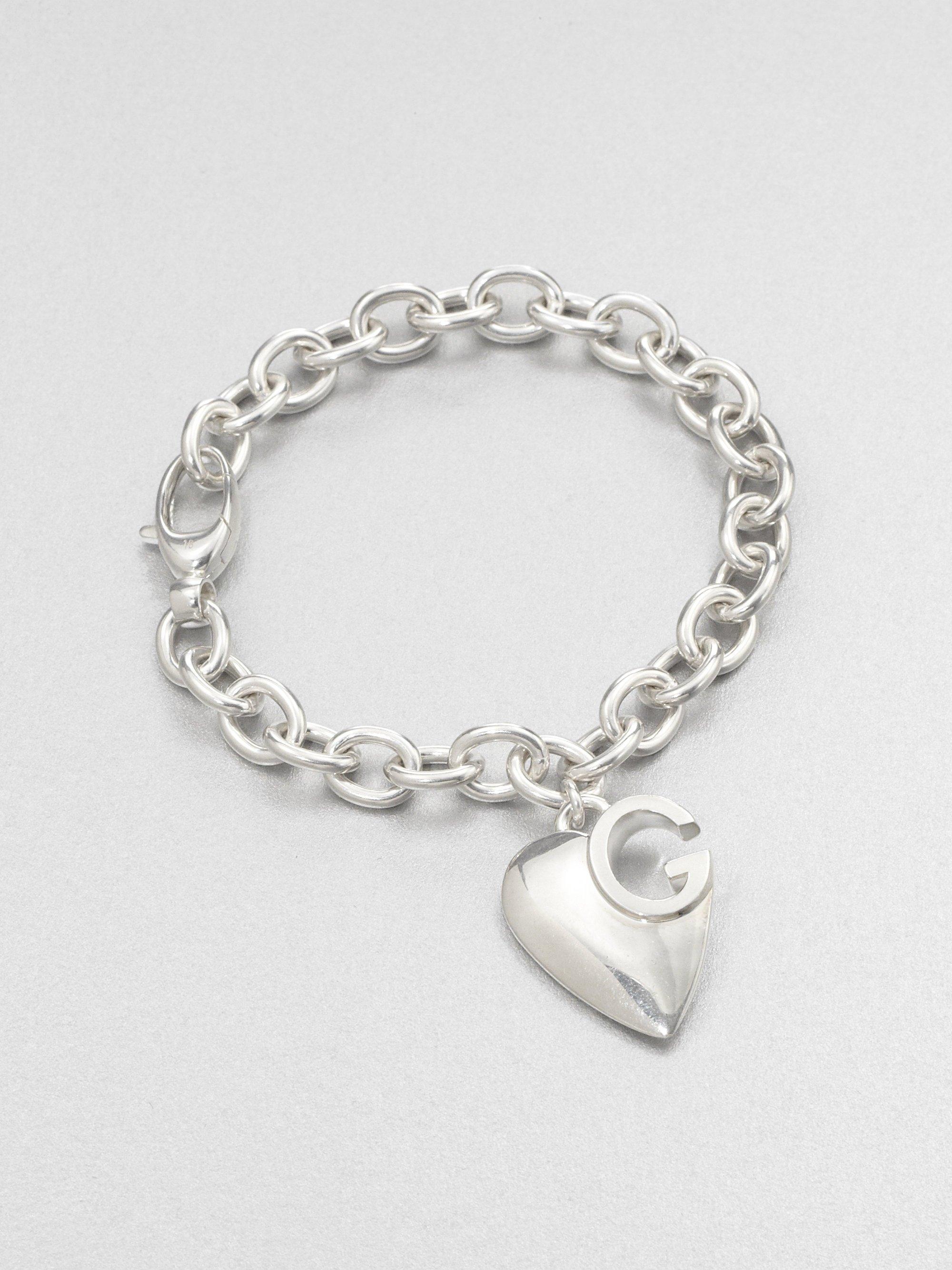 900c00f1c Lyst Gucci Sterling Silver Heart Charm Bracelet In Metallic
