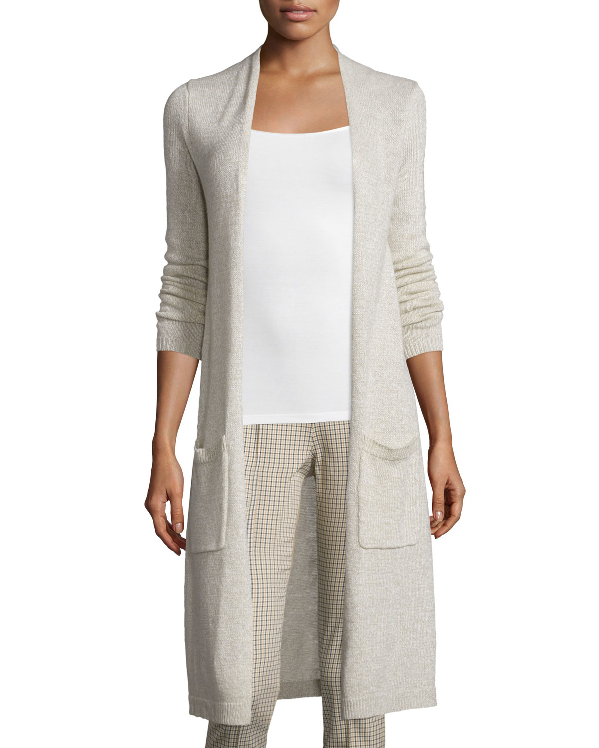 Theory Torina C Linen/cashmere Long Cardigan in Gray | Lyst