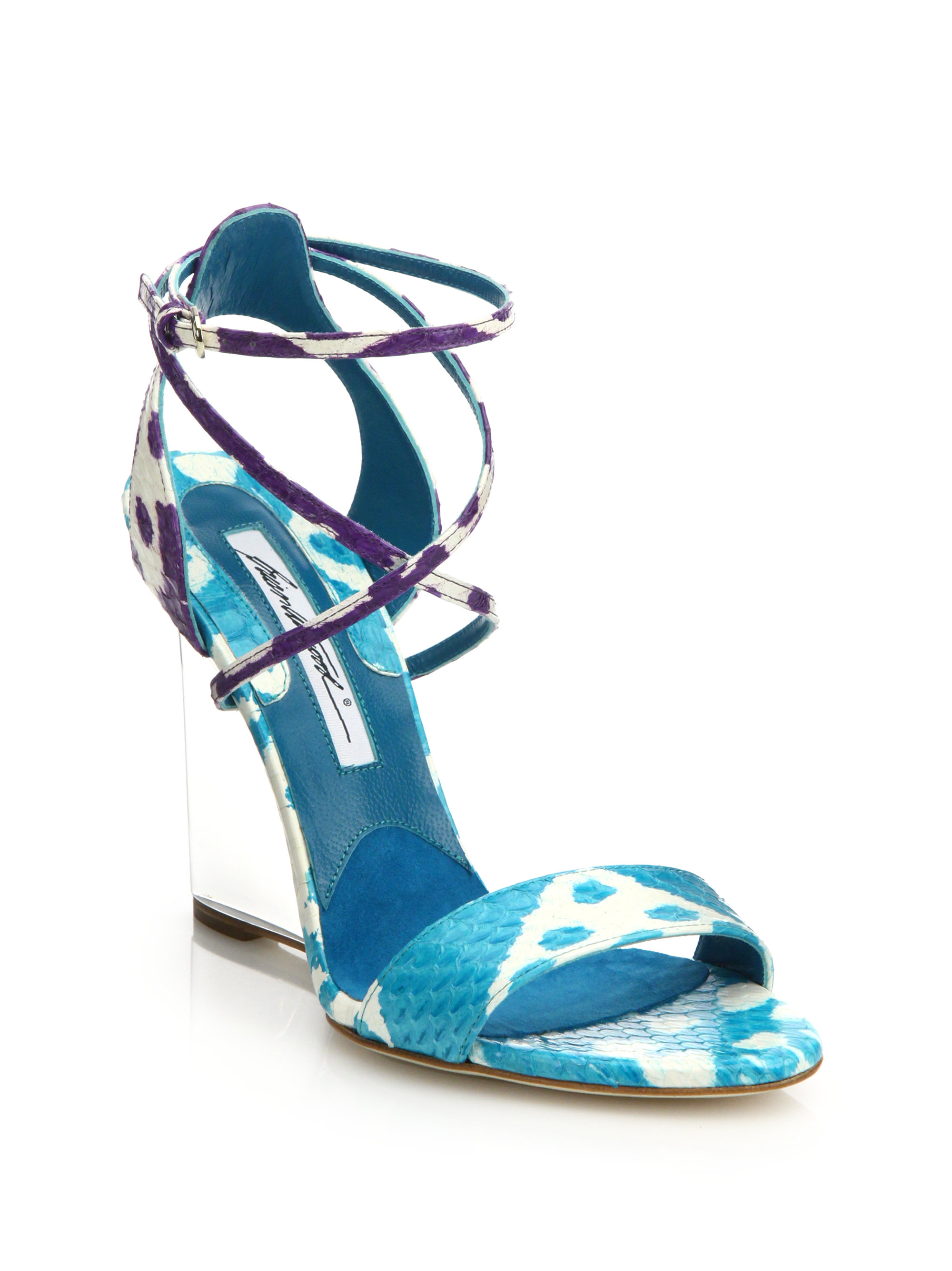 f7c98941513 Lyst - Brian Atwood Ikat Lucite-Wedge Snakeskin Sandals in Purple