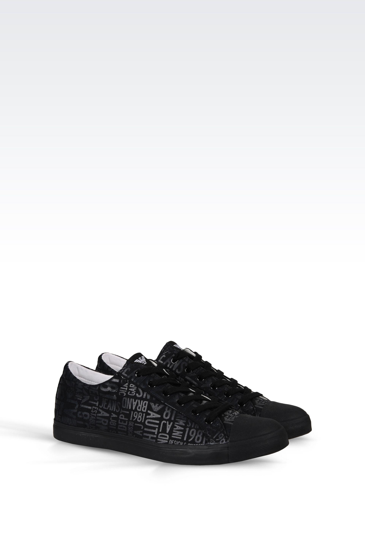 armani jeans sneaker in logo patterned canvas in black for men lyst. Black Bedroom Furniture Sets. Home Design Ideas
