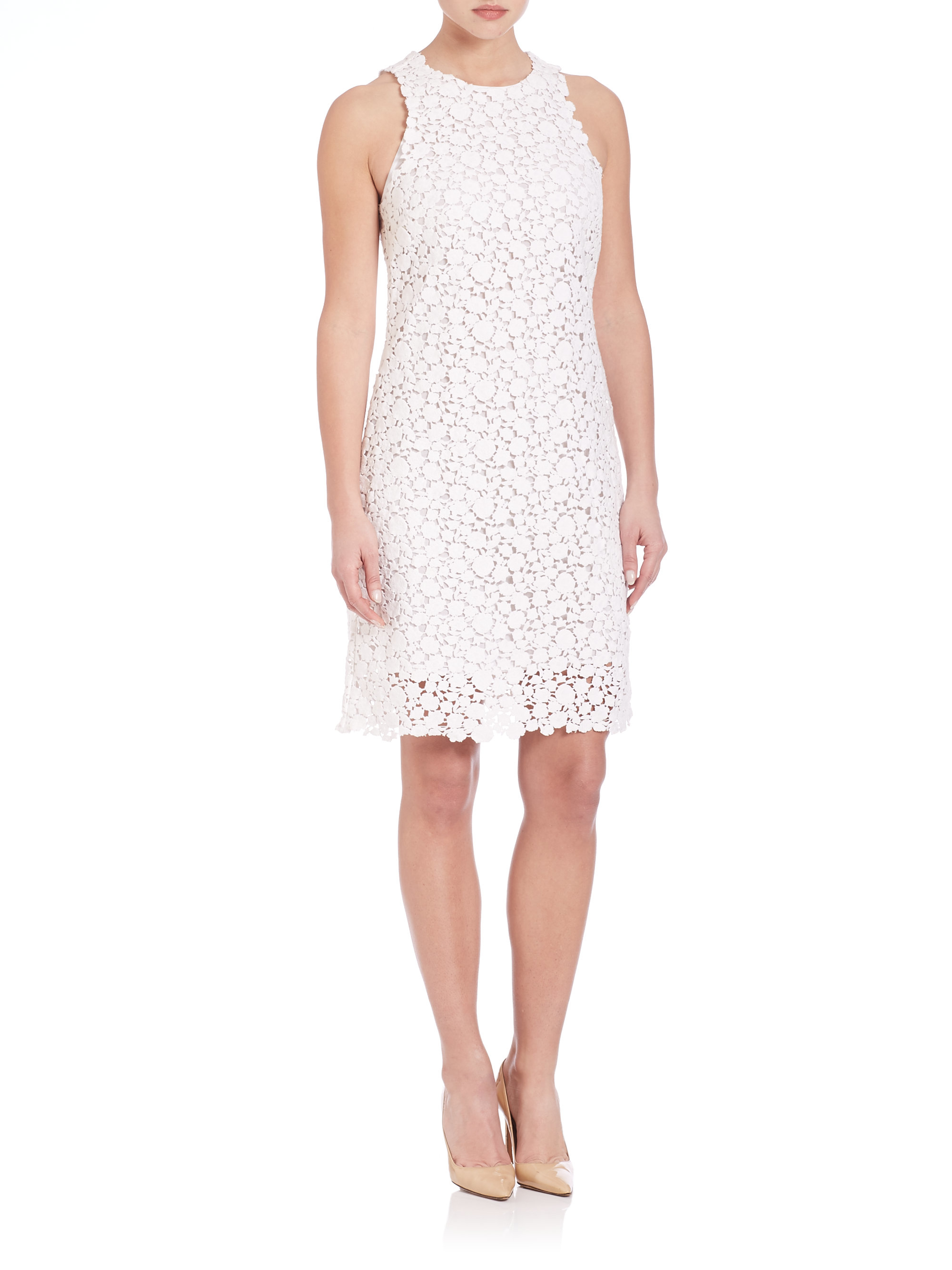 305731970d7 MICHAEL Michael Kors Sleeveless Lace Shift Dress in White - Lyst
