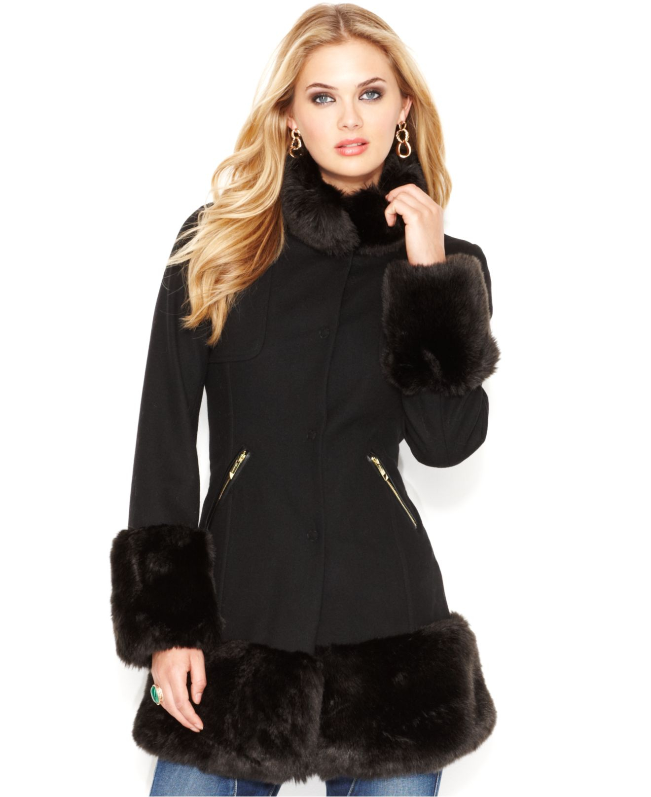Guess Stand-Collar Faux-Fur Trim Coat in Black | Lyst