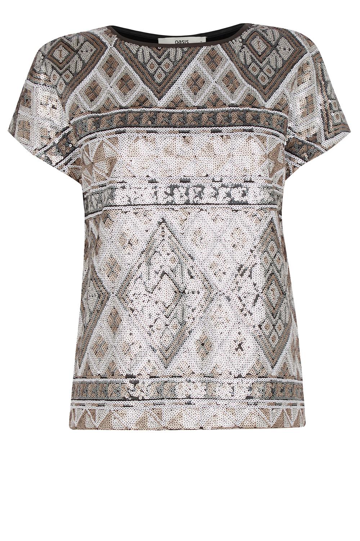 2079777832cba Lyst - Oasis Aztec Sequin T-shirt in Metallic