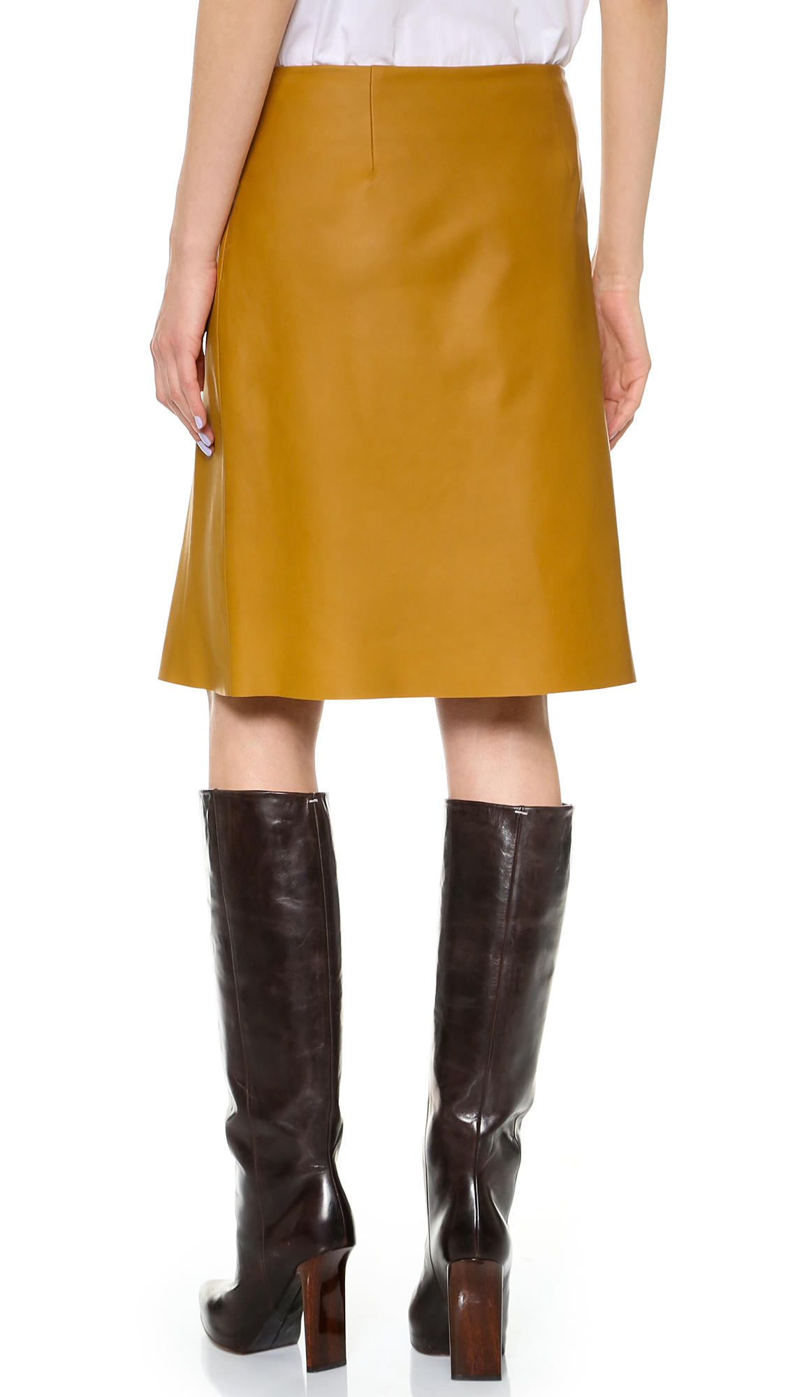thakoon pleated slit leather skirt tobacco in lyst