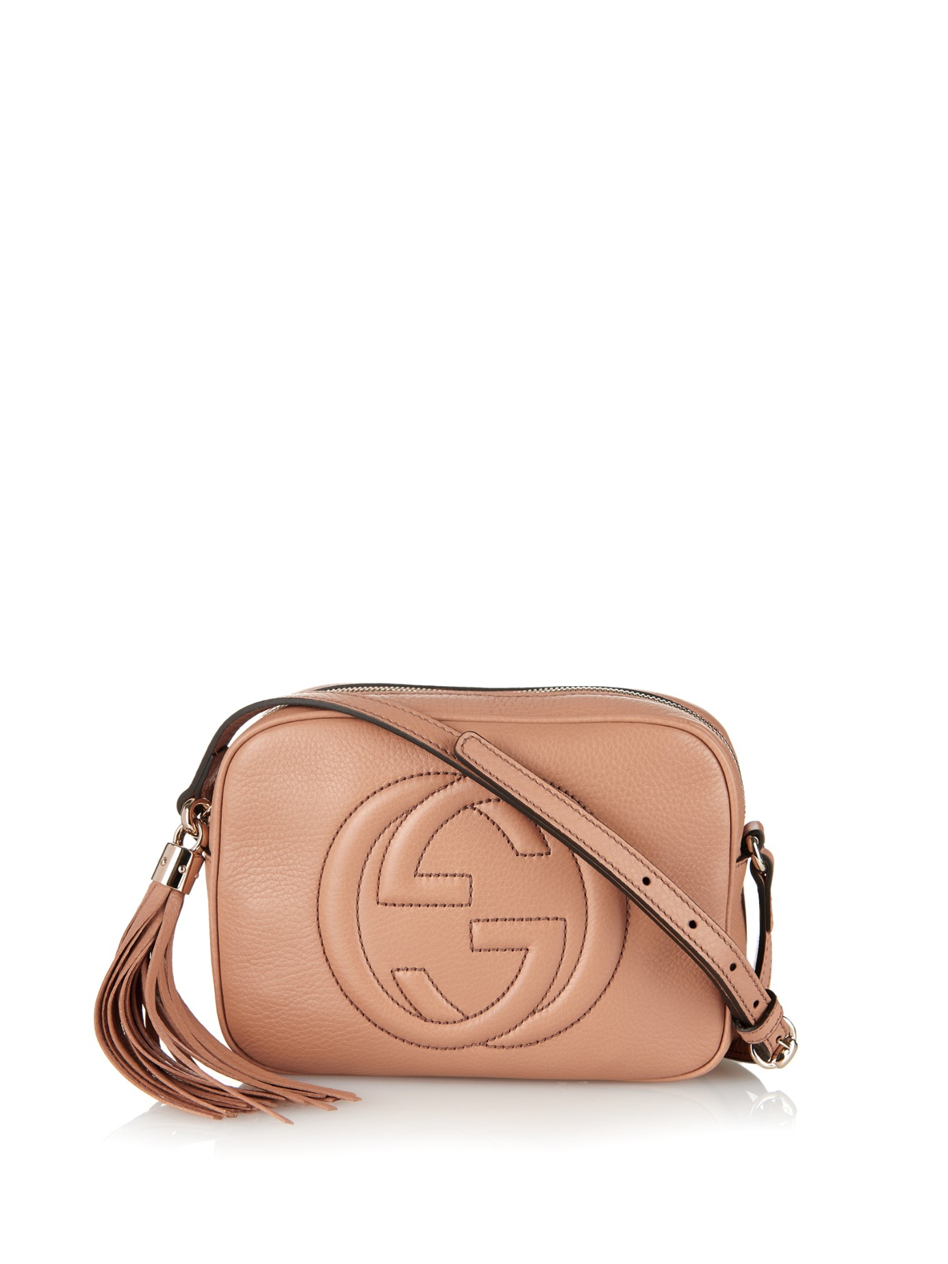 lyst gucci soho leather cross body bag in brown. Black Bedroom Furniture Sets. Home Design Ideas