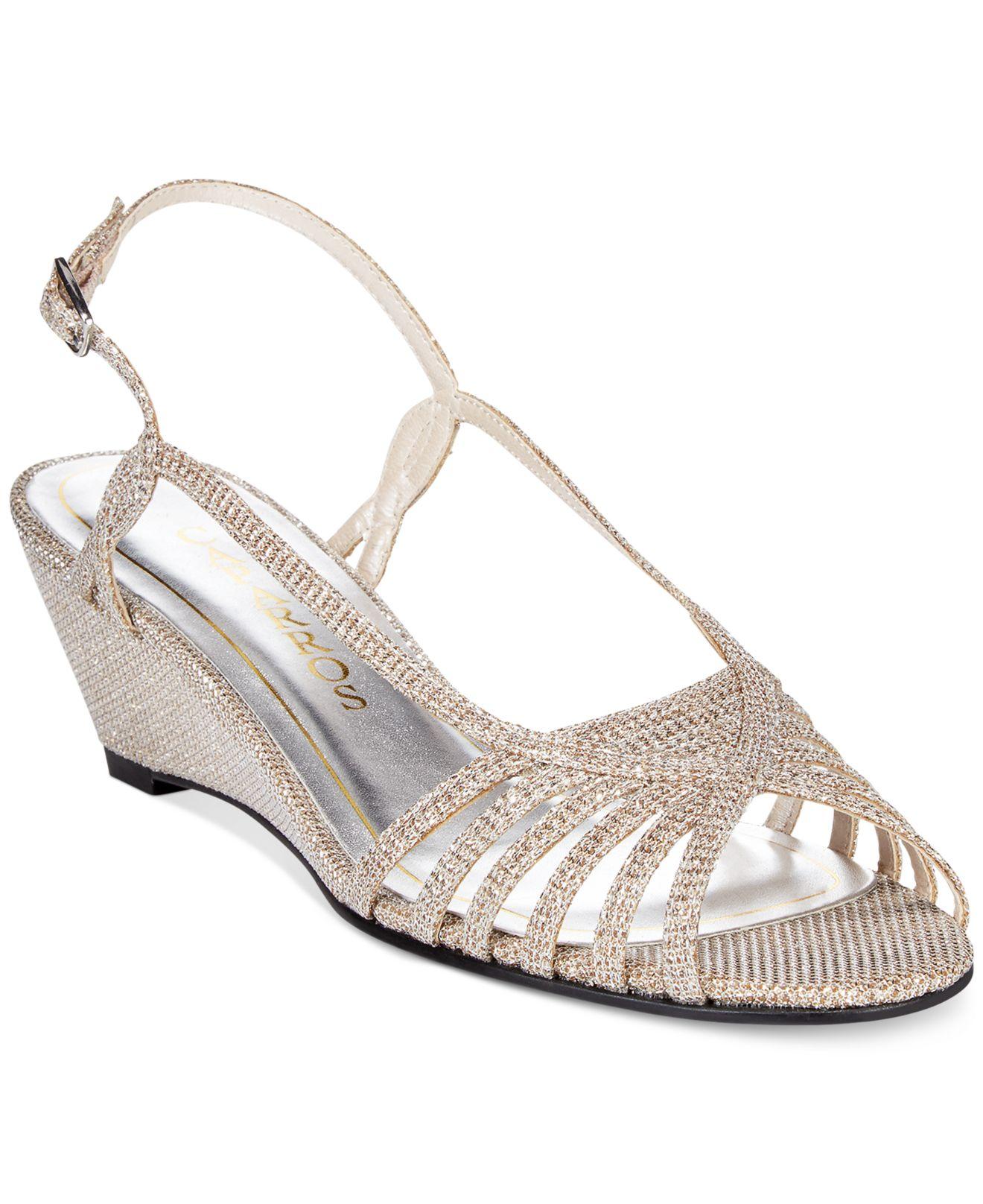 caparros wedge evening sandals in metallic lyst
